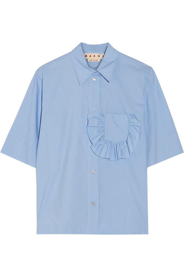 Marni Ruffle-Trimmed Cotton-Poplin Shirt