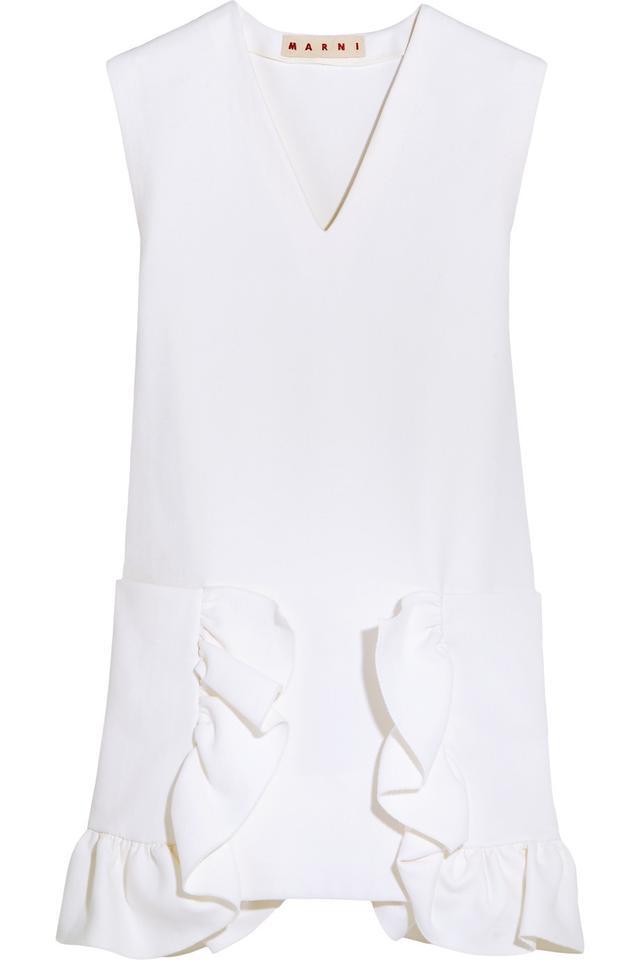 Marni Ruffled Cotton-Blend Crepe Mini Dress