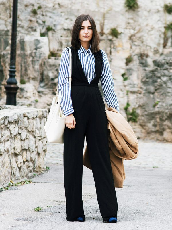 Style Notes: If you haven't already invested in a pinafore or dungaree-style jumpsuit for fall then let Aria Di Baribe all the persuasion you need. A stripy shirt looks...