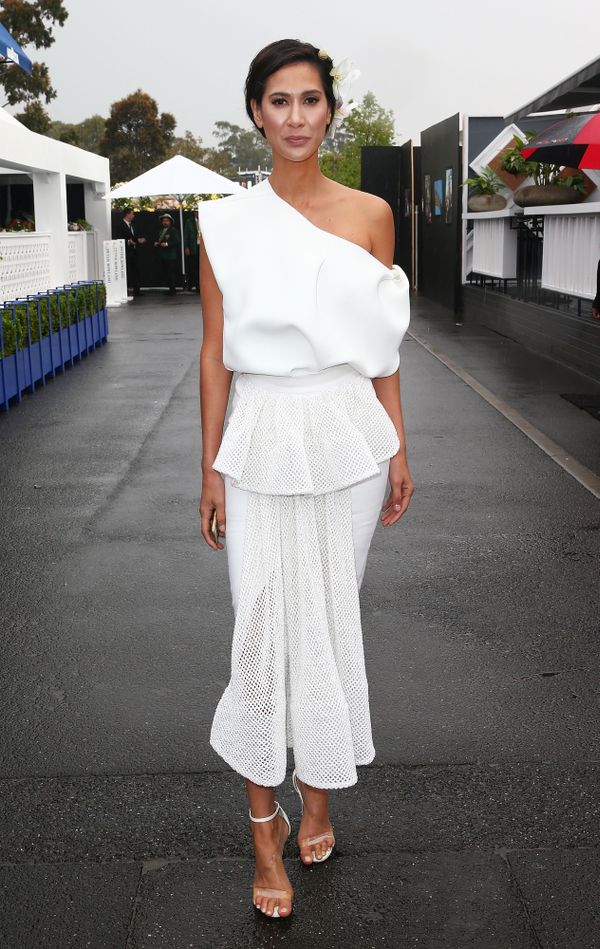 Lindy Klim wears a white top and skirt at Derby Day 2015.