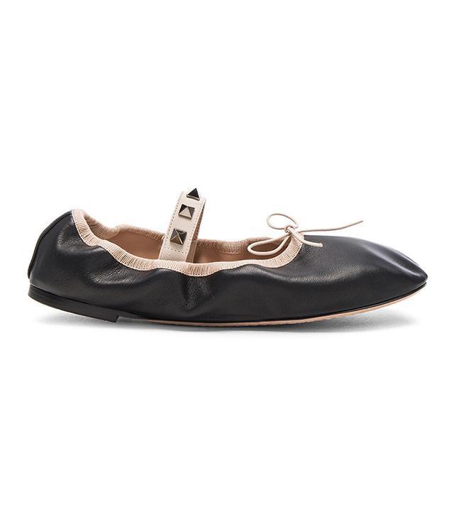 Valentino Rockstud Leather Ballerina Flats
