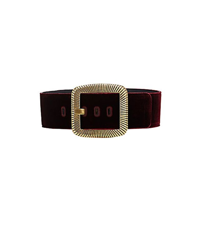 Saint Laurent Velvet Oversized-Buckle Belt