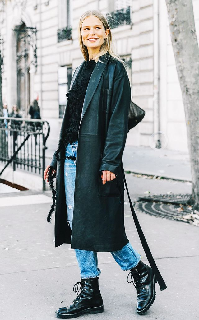 long leather jacket and doc martens layering street style