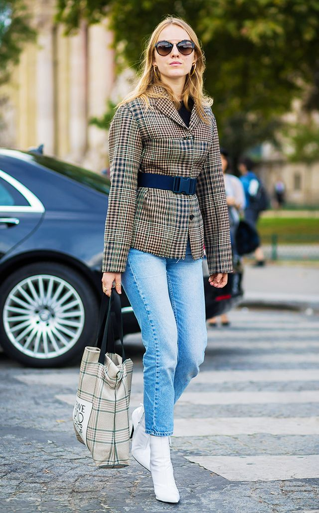 Plaid jacket with belt and white boots street style