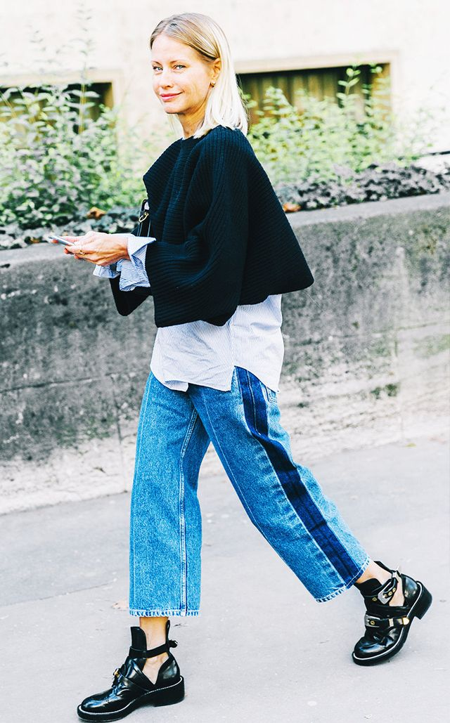Wide leg jeans, balenciaga boots, layering street style