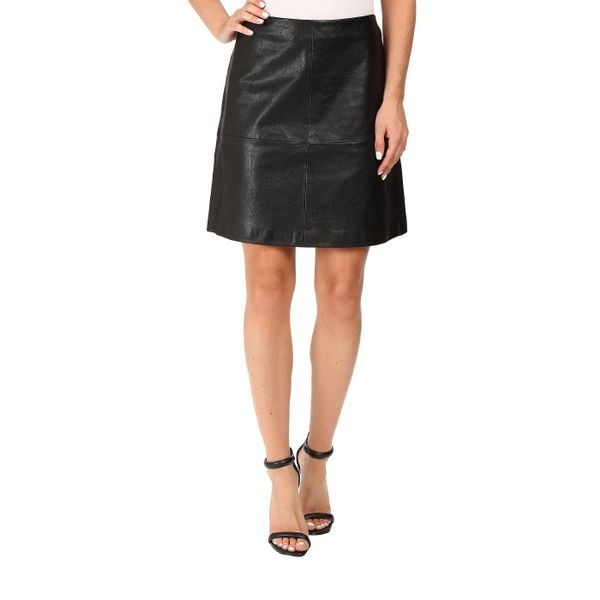 Vince Camuto Back Zip Distressed Pleather Skirt