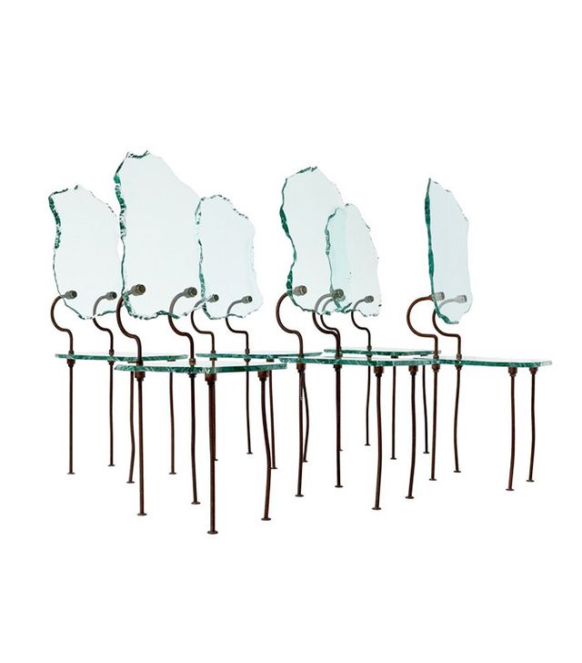 Set of Six Brutalist Glass Dining Chairs
