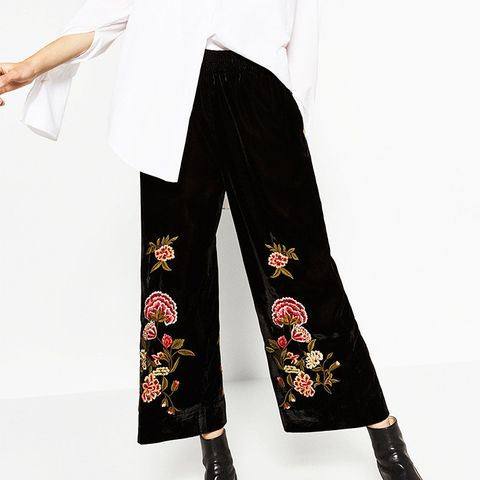 Embroidered Velvet Culottes