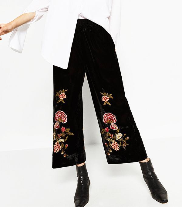 Zara Embroidered Velvet Culottes