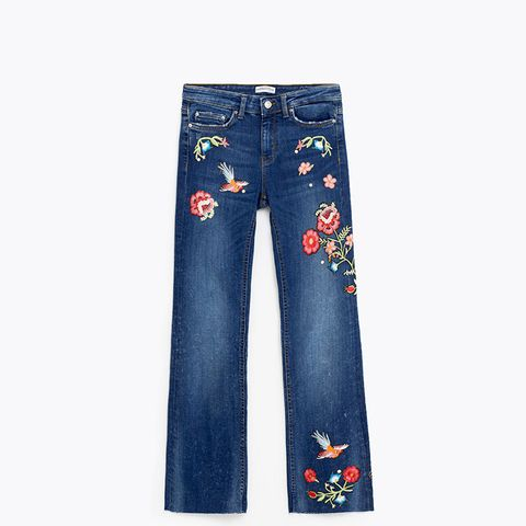 Embroidered Cropped Jeans