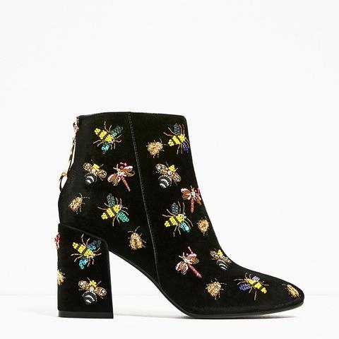 Beaded Velvet Ankle Boots