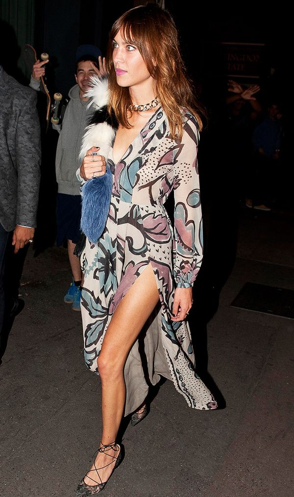 Alexa Chung tossed her Popsicle Scarf over one shoulder to accent a boldly printed maxi dress.