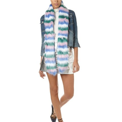 Multi Faux Fur Candy Can Stole