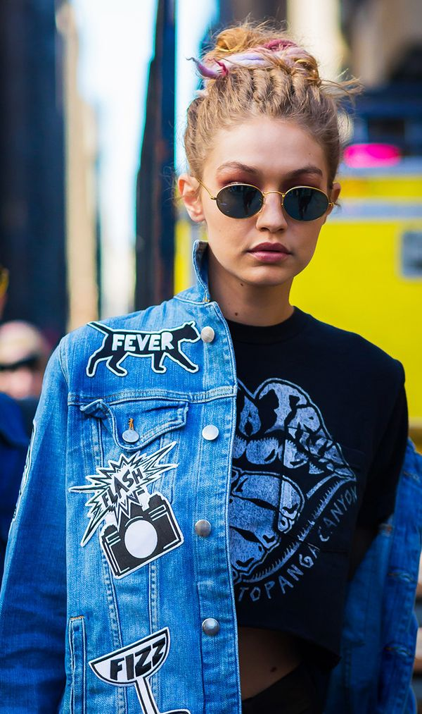 Gigi Hadid in patch denim jacket and t-shirt