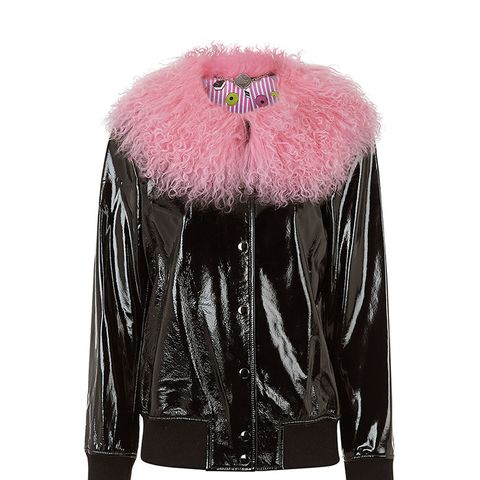 Black Leather Va-Va Varsity Jacket
