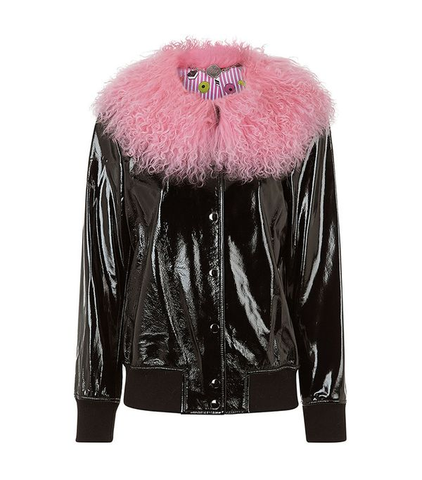 Charlotte Simone Black Leather Va-Va Varsity Jacket