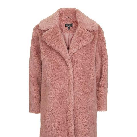 Pink Casual Faux Fur Coat