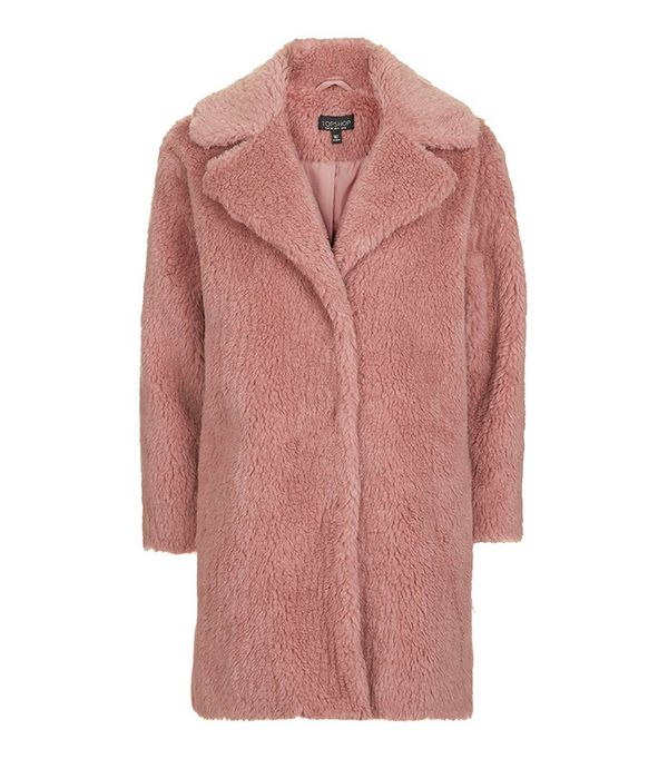 Topshop Pink Casual Faux Fur Coat