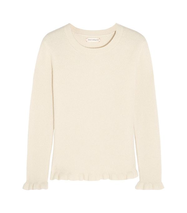 Chinti and Parker Ruffled Ribbed Cashmere Sweater