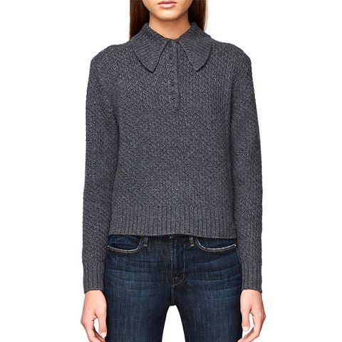 Cashmere Button Shawl Collar Sweater