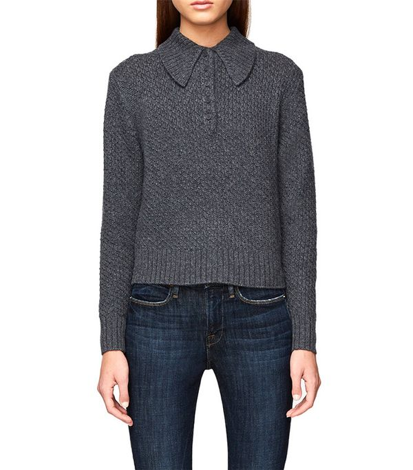 Frame Cashmere Button Shawl Collar Sweater