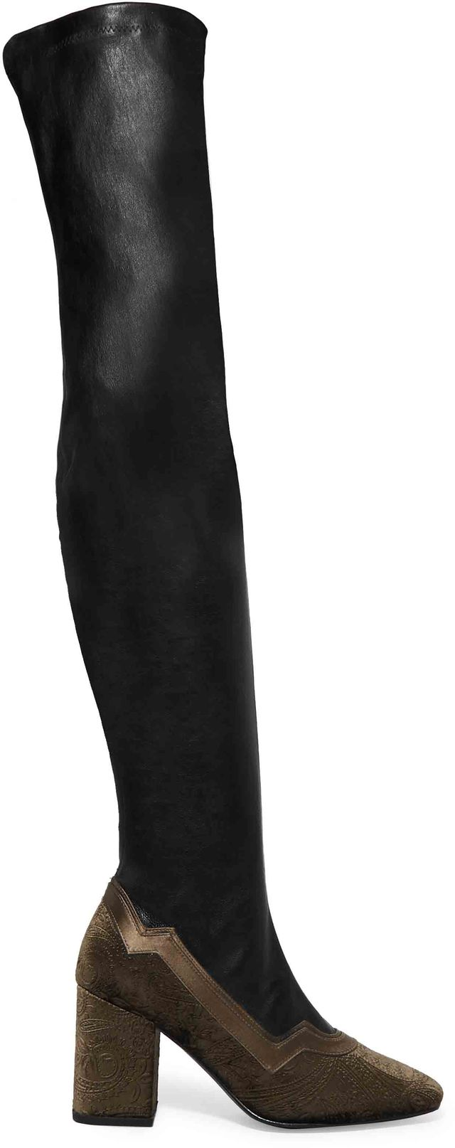 MR by Man Repeller The I'm Really Here to Party Embossed Velvet-Trimmed Leather Over-the-Knee Boots