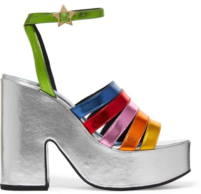 MR by Man Repeller Lol If You Think I'm Walking Metallic Leather Platform Sandals