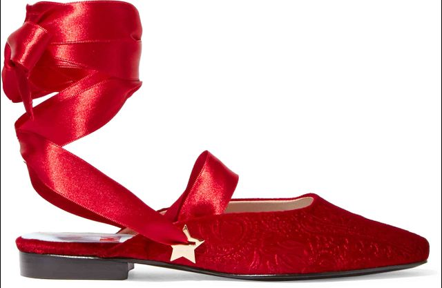 MR by Man Repeller The Morning After Embossed Velvet Flats in Red