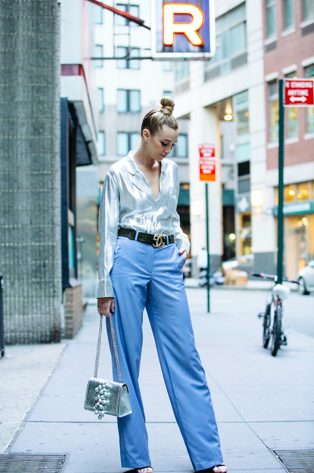On Whitney Port: H&M Silk-Blend Blouse ($70); Paul & Joetrousers; Gucci Leather Belt With Double G Buckle ($420); Stuart Weitzman Nearlynude Sandals ($398).