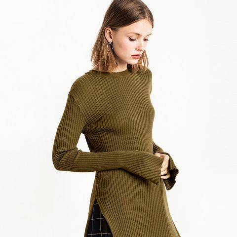 Olive Slit Sleeve Ribbed Top