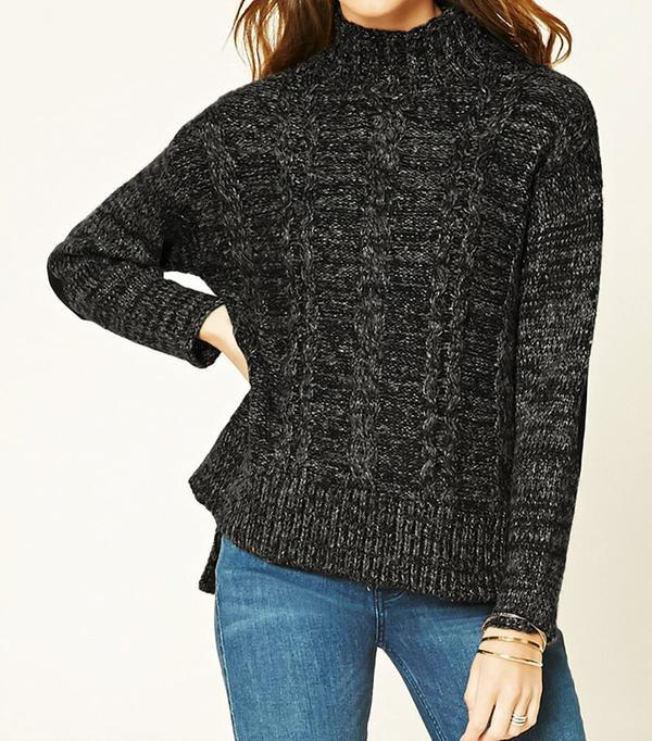 Forever 21 Marled Knit Mock Neck Sweater