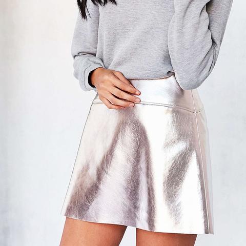 Rose Gold Vegan Leather Mini Skirt