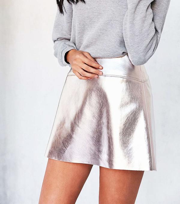 Silence + Noise Rose Gold Vegan Leather Mini Skirt