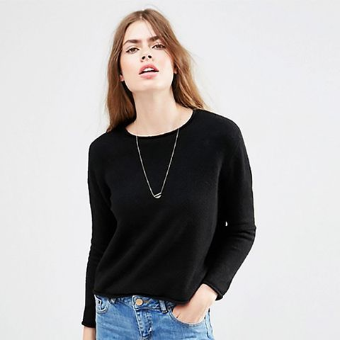 Cropped Sweater with Rolled Edge Detail in Fluffy Yarn