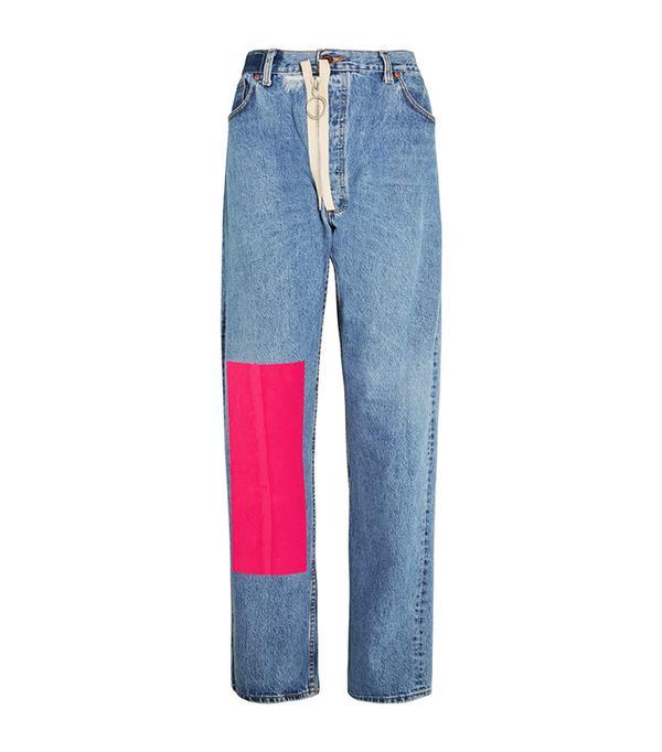 Off-White Velvet-Paneled Distressed High-Rise Boyfriend Jeans