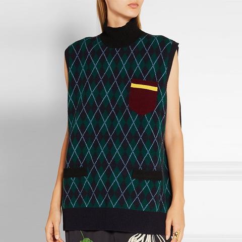 Oversized Argyle Wool Turtleneck Sweater