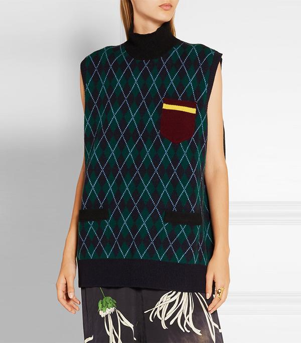 Miu Miu Oversized Argyle Wool Turtleneck Sweater