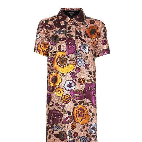 Metallic Jacquard Shirt Dress