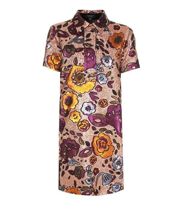 Burberry Metallic Jacquard Shirt Dress