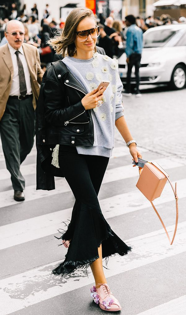 Moto Jacket + Bold Sweater + Trousers + Colorful Flats