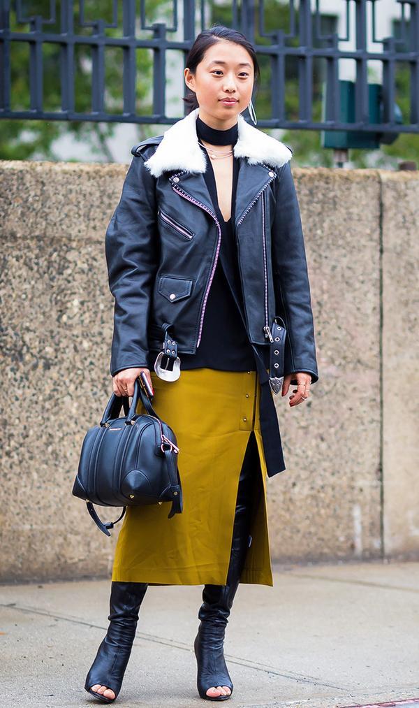 Moto Jacket + Tie Blouse + Skirt + Boots