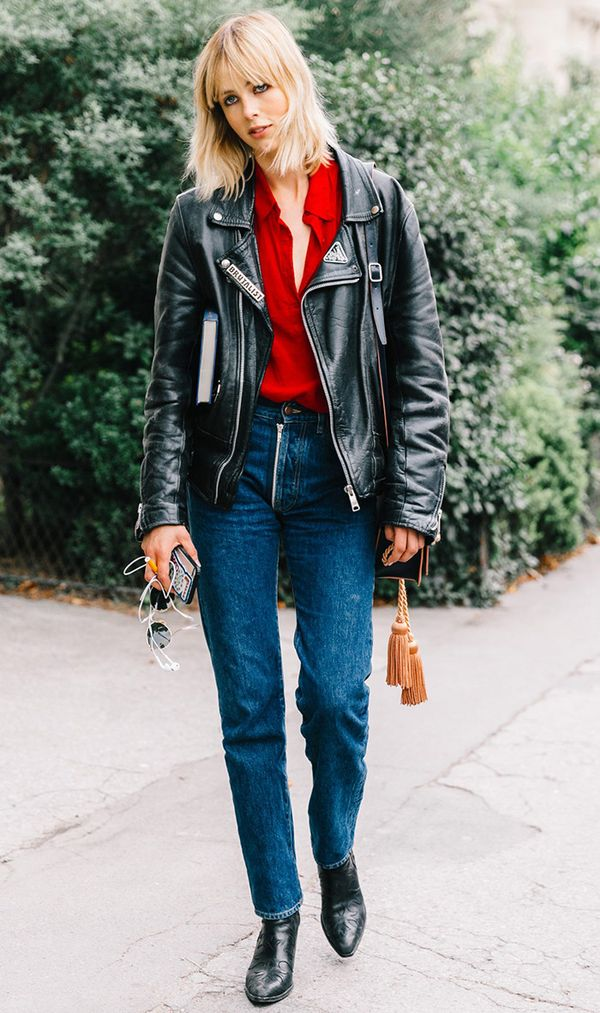 Moto Jacket + Button-Down + Jeans + Ankle Boots