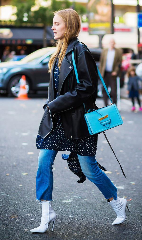 Moto Jacket + Dress + Jeans + Booties