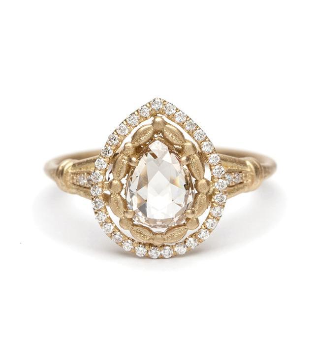 Sofia Kaman Athena Halo Pear Shape Rose Cut Diamond Ring