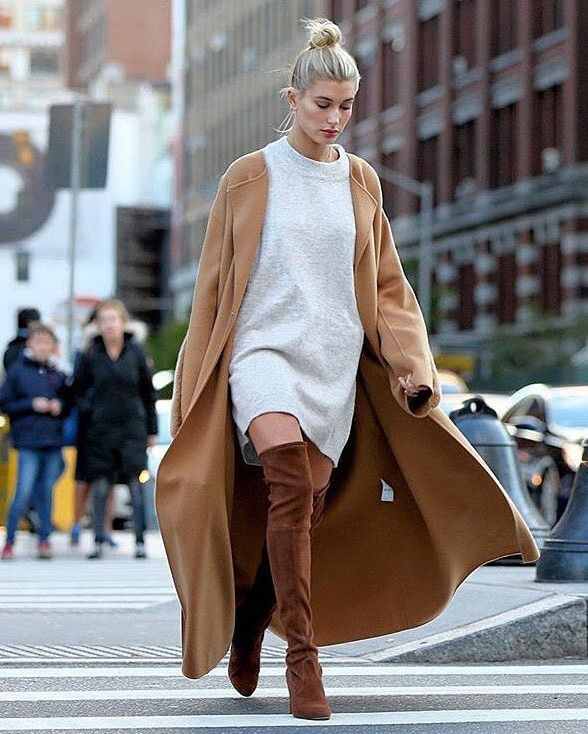 Hailey Baldwin Cyclas coat and sweater dress and over the knee boots