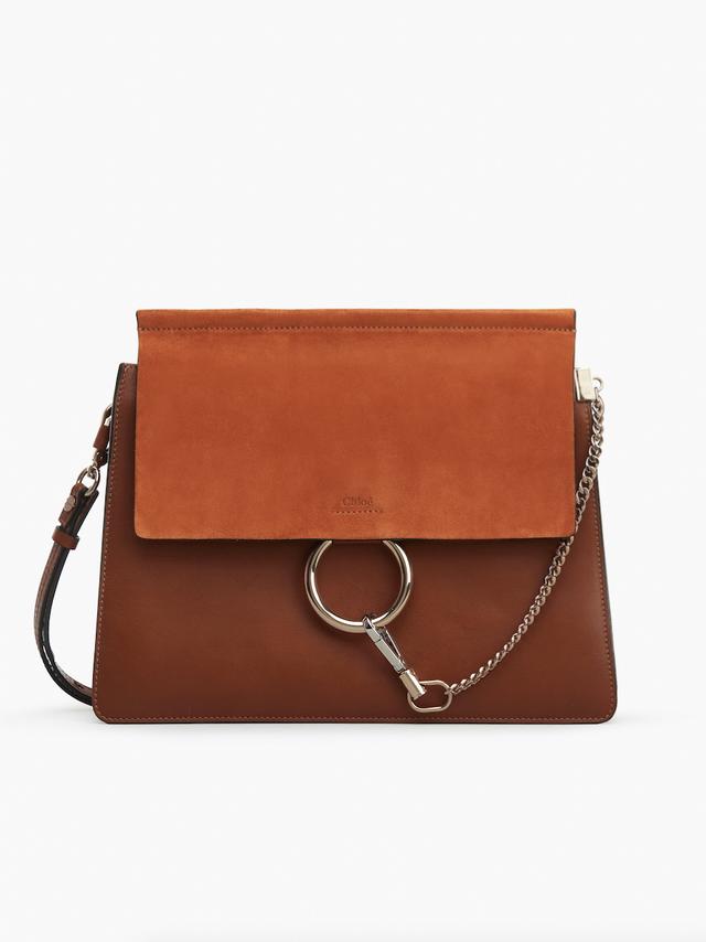 Chloé Faye Shoulder Bag in Smooth Calfskin & Suede Calfskin