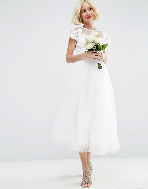 ASOS Lace Applique Mesh Midi Prom Dress