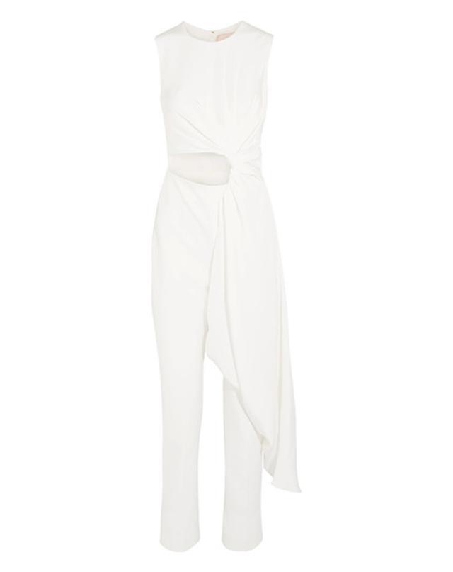 Roksanda Thurloe Draped Cutout Jersey and Crepe Jumpsuit