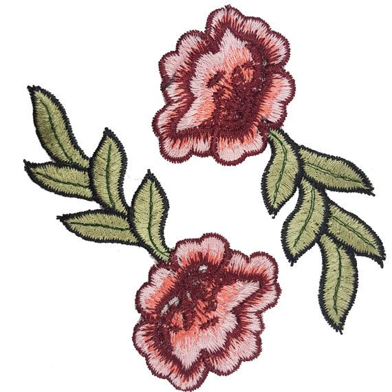 BeeComeCrafty Embroidered Red Pink Applique Roses