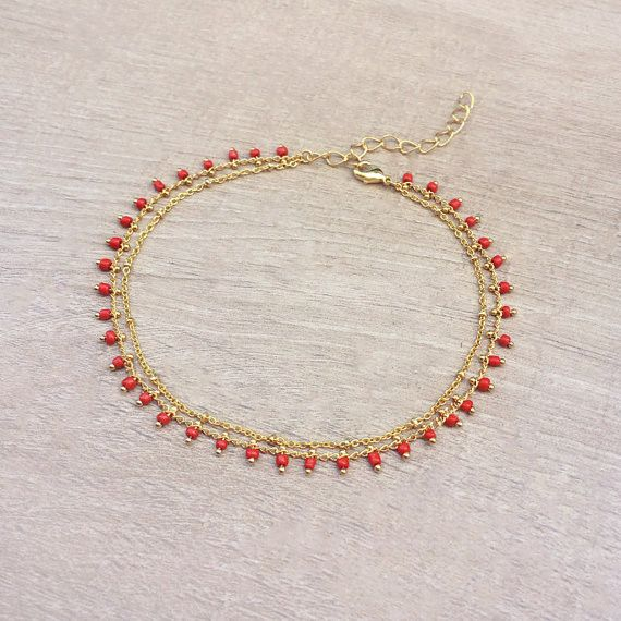 Kurafuchi Gold Double Beaded Chain Anklet